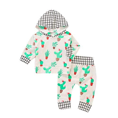 Hirolan Neugeborenes Babykleidung Mädchen Plaid Kapuzenpullover Tops Kakteen Oberteile + Hosen Kleidung Baby Strampler Kinderkleidung Jungen Outfit Hoodie Sweatshirt (70, Weiß)