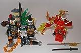 Lego Ninjago Figuren 5er Set Roter Drache und Roter Ninja Kai und 2 Schurken dazu der Waffenständer bmg2000 Aufkleber
