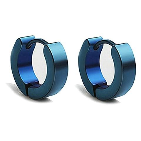 Aooaz Schmuck 1 Paare / 2 Stück Creole Ohrringe 9mm Edelstahl Allergiefrei Blau 4mm Breite Ohrringe Damen Frauen