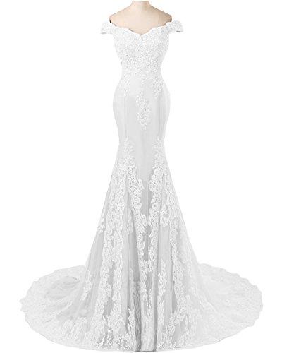 TOSKANA BRAUT Abendmode Damen Mermaid Abendkleider Lang Spitze Tuell Braut Party Fest Ballkleider Weiß