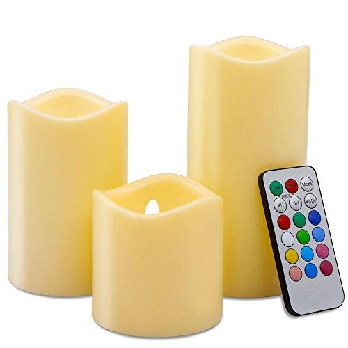 3er-Set Flammenlose LED-Kerze, Rusee echtes Wachs und echte flackernde Kerzenbewegung Motion, mit Fernbedienung LED Teelichter Votive Weihnachtskerzen für Weihnachtsbaum, Weihnachtsdeko, Hochzeit, Geburtstags, Party (3 Pack + Remote)