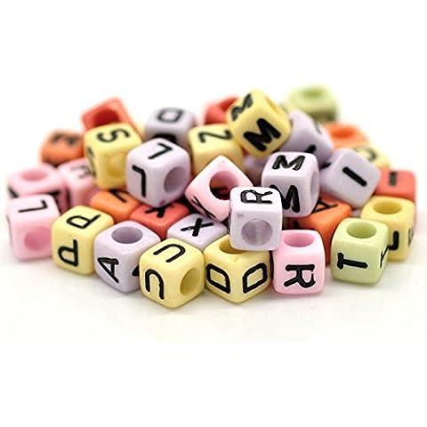 500pezzi Cubo Alfabeto Lettera perline insieme, in Bigpack 6x 6mm colorati colori