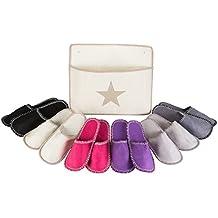 Levivo Set de zapatillas de estar por casa para invitados, 13 piezas: 6 pares de pantuflas de fieltro en 3 tamaños y bolsa de almacenamiento, pantuflas de fieltro para hombre/mujer, alta calidad