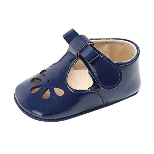Lederschuhe Babyschuhe Neugeborenen Leder T-Strap Schuhe Kleinkind Prinzessin Party SchuheLauflernschuhe Mädchen Krippeschuhe Krabbelschuhe Wanderschuhe LMMVP (Blau, 13CM(12 ~ 18 Monate))