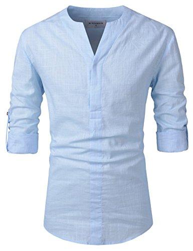 Nearkin Herren Freizeit-Hemd, Durchgehend Gr. Large, NKNKN370-SKY