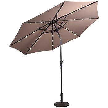costway sonnenschirm mit solar led beleuchtung ampelschirm gartenschirm kurbelschirm. Black Bedroom Furniture Sets. Home Design Ideas