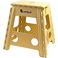 Lantelme–Taburete Plegable hasta 120kg de Carga. Taburete de plástico Color Beige Impermeable para el hogar, jardín y Camping