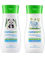 Mamaearth Daily Moisturizing Baby Lotion, 200ml änd Gentle Cleansing Shampoo for Babies (200 ml, 0-5 Yrs)