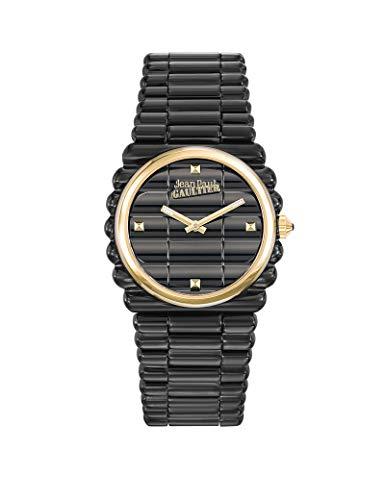 Montre Femme - Jean Paul Gaultier - Bord Côte - Bracelet Acier PVD Noir - Cadran Or - 34mm - 8504105