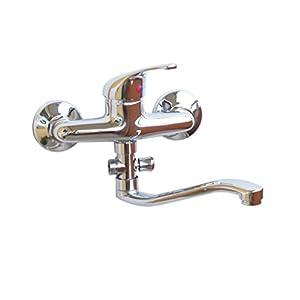 Grifo de una palanca para pared de baño, (en cromo)