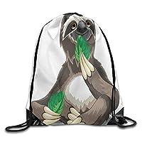 GDESFR Drawstring Backpack Sluggish Wild Jungle Animal Eating Green Leaves Idle Indolent Fun Character Drawstring Gym Sack Sport Bag for Men and Women