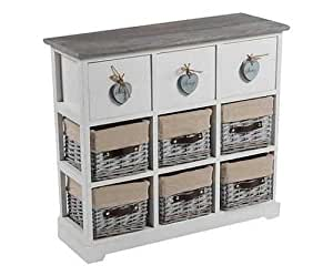 Cassettiera mobiletto con cassetti legno e vimini cuore shabby country bianco bagno camera - Mobiletto cucina amazon ...