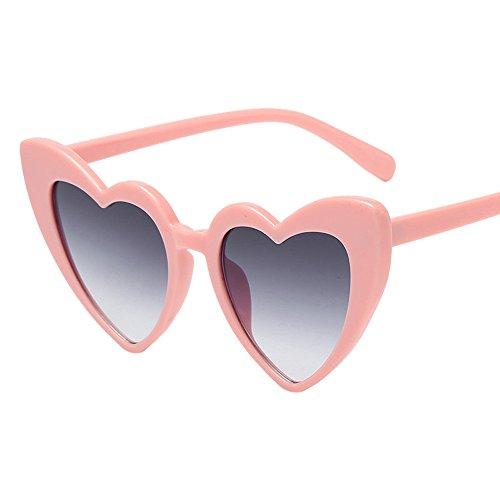 Frauen Retro Fashion Herzförmige Shades Sonnenbrille,EUZeo Integrierte UV-Brille Sunglasses (C)