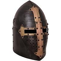 Olla Casco con visera plegable, 1,6mm, acero antiguo acabado de Battle Merchant–Medieval Casco