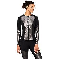 AURIQUE Chaqueta de Deporte Metalizada Cuello Redondo Mujer Negro (Black Foil), Small