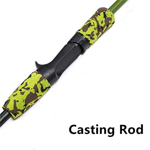 XIAOXINGXING Grün-Tarnung Tragbare 1.8M 3.4-20g Test-M Aktion Carbon-Faser-Reise Carp Baitcasting Lure Fishing Rod Spinn (Color : Black, Length : 1.8 m)