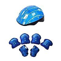 pushfocourag Outdoor Bicycle Helmet Kneecap Elbow Wrist Guard Support Skateboard Riding Set Children