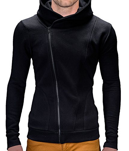 BetterStylz Primo Herren Marken Kapuzenpullover Sweatjacke Jacke Pullover Hoodie Sweatshirt div. Farben (S-XXL) (L, Schwarz)