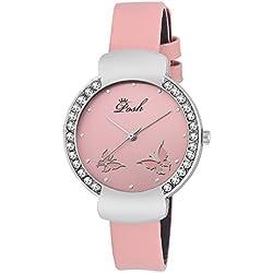 Posh Quartz Movement Crystal Studded Dial Fuax Leather Band Women's Wrist Watch
