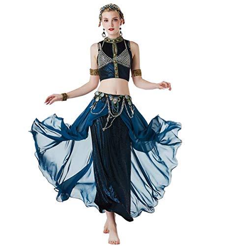 Bollywood Dance Kostüm - NANXCYR Damen Bauchtanz Rock Bohemian Kostüm Tribal Ice Silk Chiffon Rock Bollywood Kleid Halloween Dance Outfit Lob Tanzkleider,S