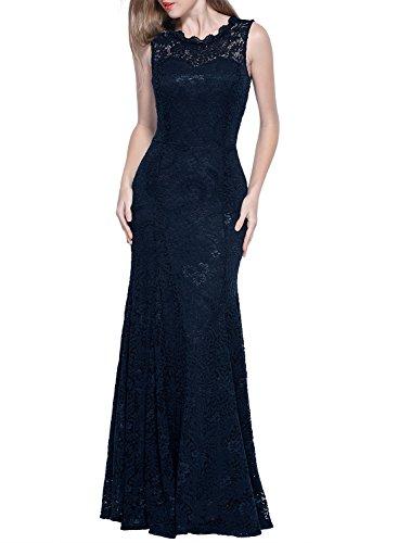 Miusol Damen Kleid Elegant Spitzen Sommer Rueckenfrei Aemerlos Langes Fishtail?Brautjungfer Cocktailkleid Dunkelblau Gr.L