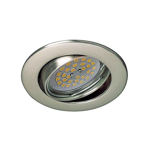 Wonderlamp Basic W-E000018 - Foco empotrable BASIC, incluye portalámparas GU10, ángulo basculación 30º, aluminio, 220 V, color gris