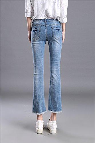 Insun Damen Jeanshose Ankle Flared Denim Jeans Quaste Blau