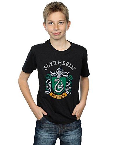 Harry Potter Jungen Slytherin Crest T-Shirt Schwarz 9-11 Years