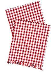 d weiß Gingham Kariert Rot 182,9cm Tischläufer ()