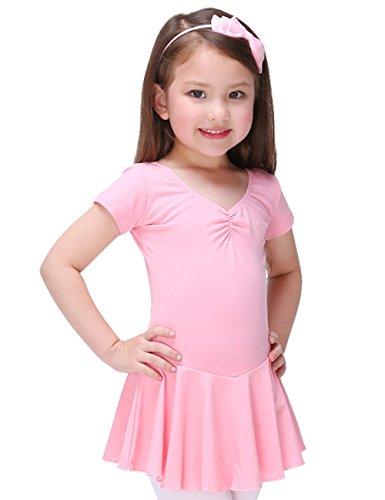 Pinkdaa - Traje de Danza de Ballet de Niña Vestido de Ballet Clásico Danza Falda Princesa Tutú para Verano Transpirable Elástico 5-6 Años - Rosa