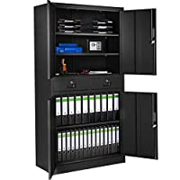 TecTake 402939 Office Storage Cupboard Metal | 2 Drawers 4 Door and Lock System 180x90x40cm | Black