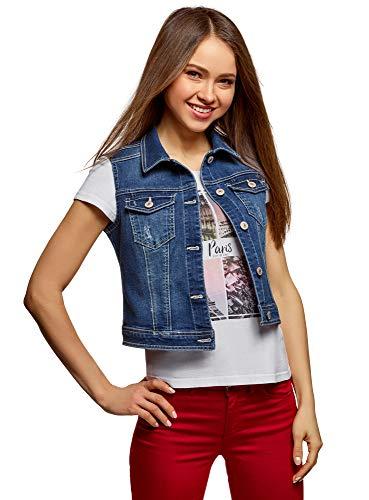 oodji Ultra Damen Jeans-Weste mit Sternen-Muster, Blau, DE 38 / EU 40 / M