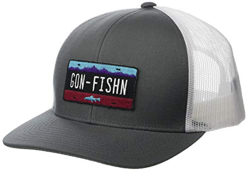 Cowbucker Better Adventures Snapback Adjustable Trucker Hat (Mesh Back) | Gon' Fishin Logo | One Size, Gray/White - Back Adjustable Trucker Hut