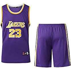 MAZO-SPORT Nueva Temporada Lakers 23er James Jersey Bordado Uniforme De Baloncesto Jersey Suit (Purple,XXXL)