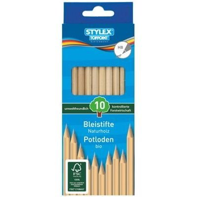 10 Bleistifte aus Naturholz/Härtegrad: HB
