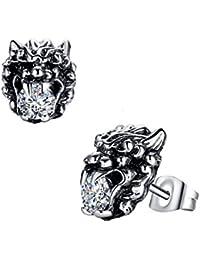 Stainless Steel Men's Biker Lion W. Round Cubic Zirconia Stud Earrings- G1003QY1