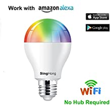 Smart WiFi Lampadina E27 RGBW 8W, Lavora con Echo Alexa/Google Home,dimmerabile, nessun hub richiesto.