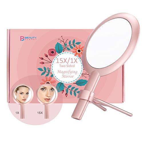 Espejo de aumento 15X, Espejo de dos caras, Aumento de 15X/1X, Espejo de maquillaje con soporte/asa...