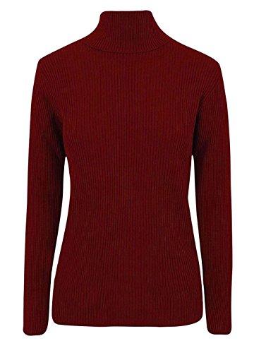Maglione da donna a coste, con collo alto, a maglia, tinta unita Wine