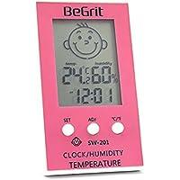 BeGrit Room Hygrometer Termómetro para la temperatura de la habitación del bebé Humedad de la humedad del monitor, digital Easy Instant Read with Smile/Emoción Triste Icono