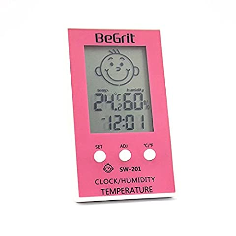 BeGrit Innen Hygrometer Thermometer für Baby-Raum-Temperatur Feuchtigkeit Feuchte Überwachung, digital einfach Sofort mit Lächeln / Unhappy Emotion Icon lesen