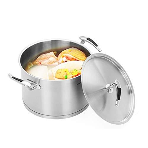 Olla JXLBB Cocina de Gas Sopa de Doble Fondo para el hogar de Acero Inoxidable Universal de 24 cm Fondo Inferior Antiadherente Antiadherente Sopa estofado