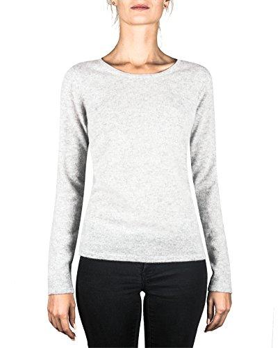 CASH-MERE.CH 100% Kaschmir Damen Pullover | Sweater Rundhalsausschnitt 2-fädig (Grau/Hellgrau, S) (100% Grau Kaschmir)