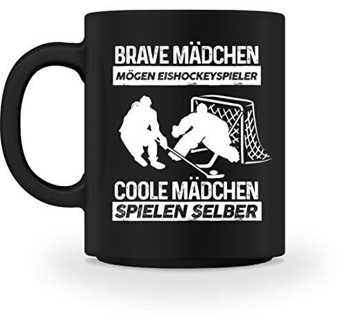 Shirtee Brave Mädchen mögen Eishockeyspieler, coole Mädchen spielen selber Frau Eishockey-Spielerin Geschenk - Tasse -M-Schwarz