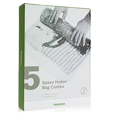 tronature® Space Maker - 5er-Set Kompressionsbeutel - Platzsparende Aufbewahrung - Platzsparer ideal für Reisen, Camping, Backpacking - Vakuumbeutel schützen vor Feuchtigkeit, Insekten, Schimmel und Gerüchen - Mehr Platz für deine Kleidung
