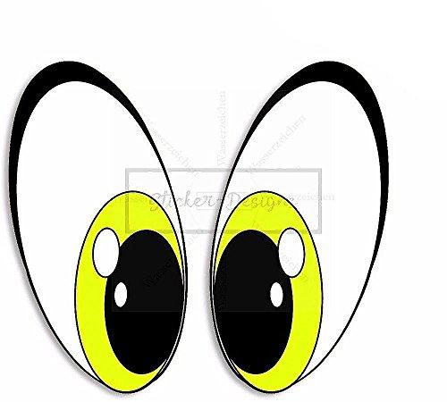 (MADE IN GERMANY Sticker-Designs® Folien-AUFKLEBER -15cm- lustige Augen Gelb Cartoon Bike044 viele Jahre haltbar Hochleistungs-Druck schutzbeschichtet kratzfest laminiert bunt ohne KEIN Hintergrund FREIGESTELLT Kontur Umriss ausgeschnitten! Alle Autos+Lacke geeignet Scheiben PKW KFZ Tuning Sponsoring Heckscheibe Stoßstange Motorhaube Autoheck Wandtattoo Wohmobil Campingwagen Camping Motorrad Roller Helm Toilettendeckel Deko IKEA Tür Kind Zimmer Spaß Funny lustige Kleber)