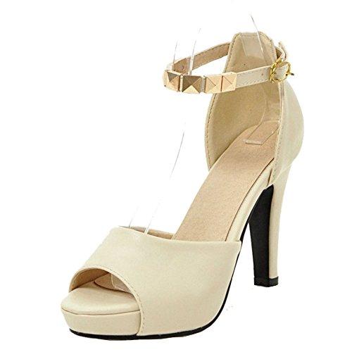TAOFFEN Damen Elegant Block High Heel Peep-toe Buckle Strap Pearl Sandalen Beige