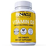 Vitamin D3 4000iu Tablets 360 Servings - One Year Supply - VIT D3 High Absorption Cholecalciferol, Gluten & Dairy Free Supplement