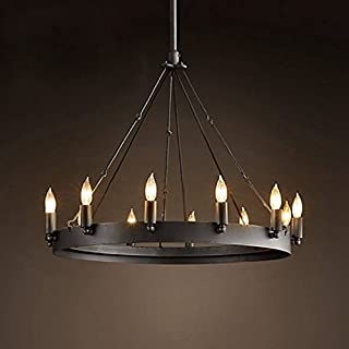 Aiwen Wrought Iron Lamps Country Retro Simple Chandelier Black 12 lamp holders