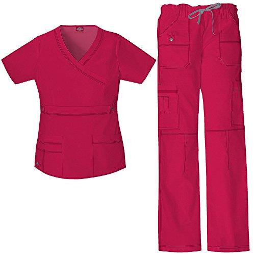Scrub Top Hose (Gen Flex Frauen Mock Wrap Scrub Top & Straight Leg Scrub Hose Set X-Small Crismon)